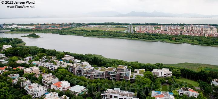 白石路桥以西,华侨城湿地北湖中段至西段的周边情况