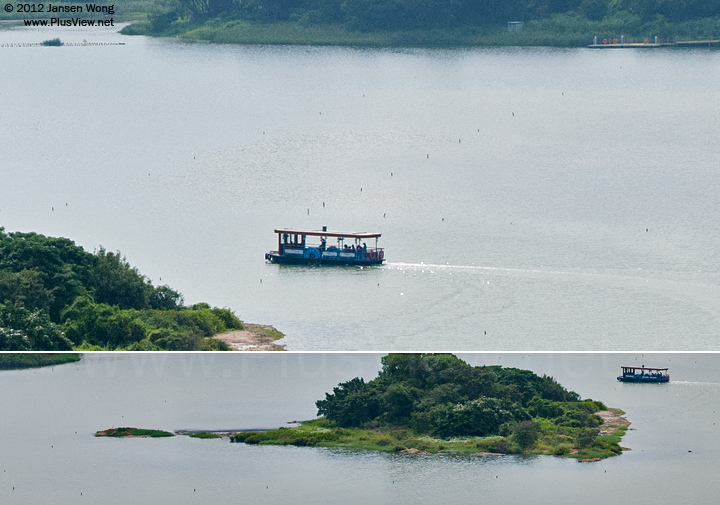 华侨城湿地北湖湖心岛周围,以及通往北岸西北角码头的航道航标