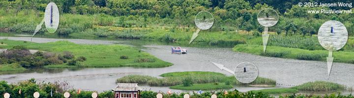 华侨城湿地北湖东南侧,通往船坞的航道航标