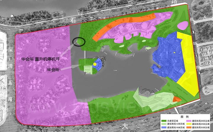 欢乐海岸南区项目工程方案调整报告示意图中的华会所直升机停机坪